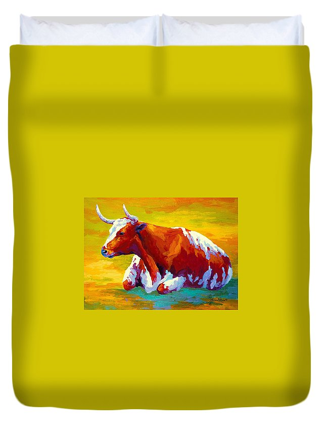 Western Duvet Cover featuring the painting Longhorn Cow by Marion Rose