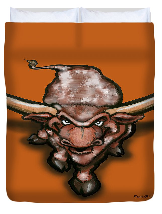 Longhorn Duvet Cover featuring the greeting card Longhorn by Kevin Middleton