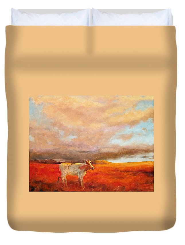 Longhorn Duvet Cover featuring the painting Longhorn by Margaret Aycock