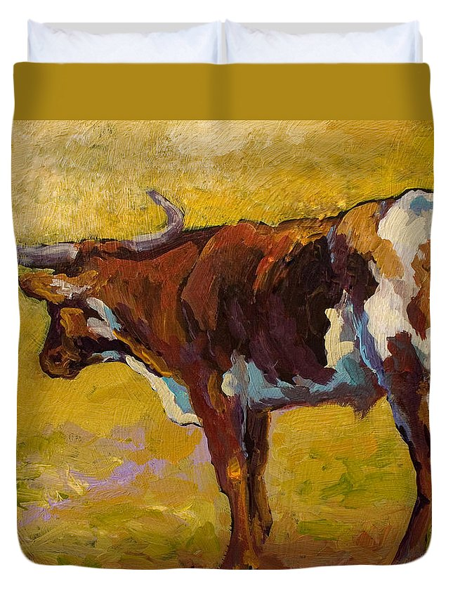 Longhorn Duvet Cover featuring the painting Longhorn Study by Marion Rose