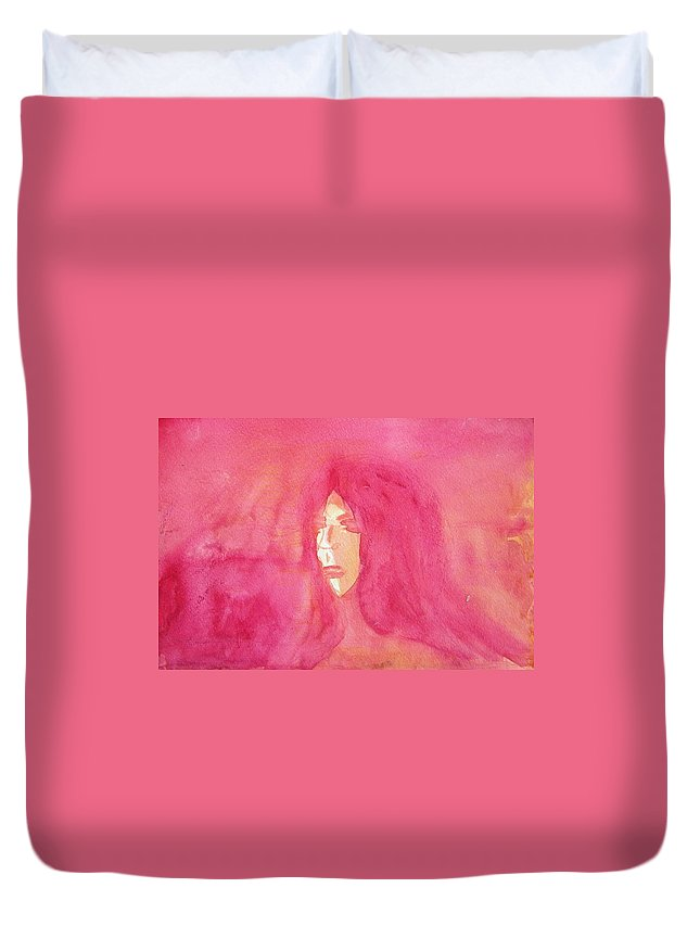Abstract Duvet Cover featuring the painting Longing 2 by Judith Redman