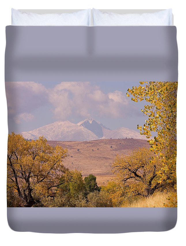 Twin Peaks Duvet Cover featuring the photograph Longs Peak Diamond Autumn Shadow by James BO Insogna