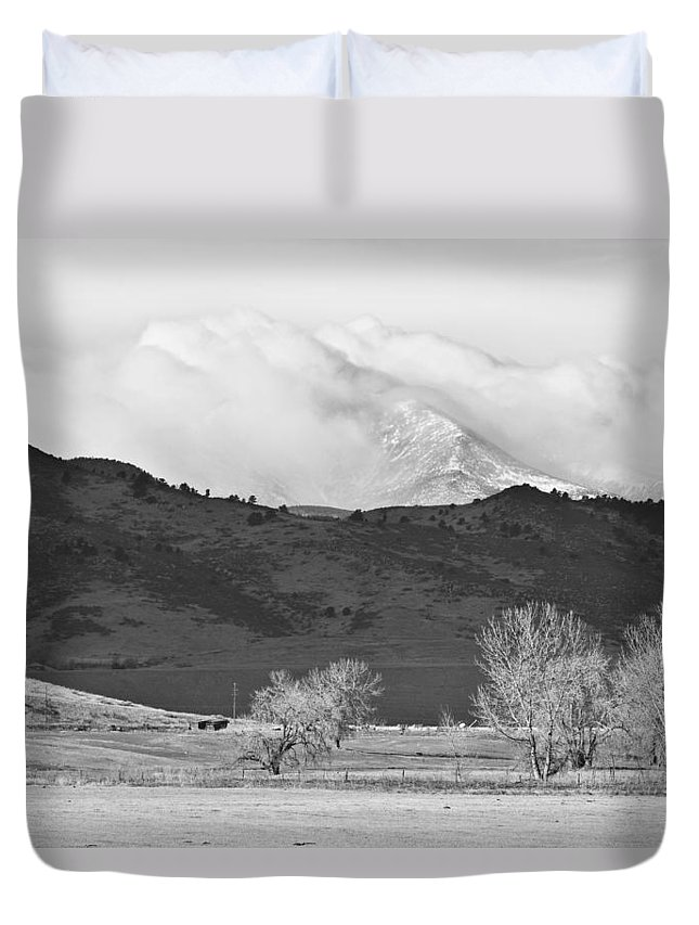 Colorado Duvet Cover featuring the photograph Longs Peak Snow Storm Bw by James BO Insogna