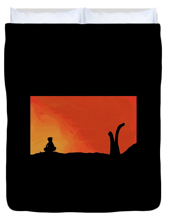 A Man Sitting Lonely Duvet Cover featuring the digital art Lonliness by Safwan