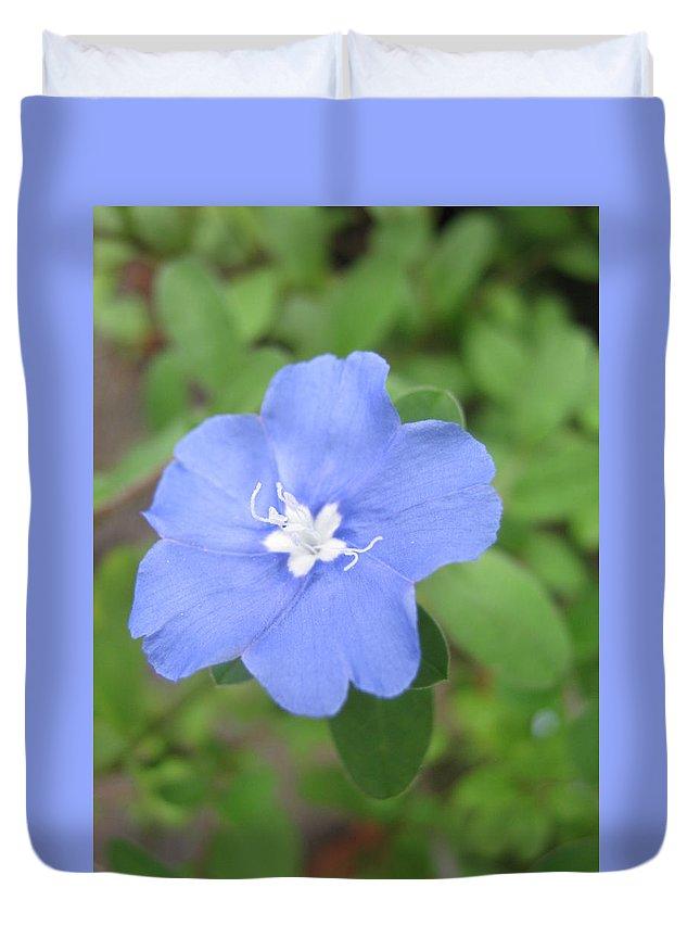 Flower Duvet Cover featuring the photograph Lonly Blue Flower by Sandun Somarathna
