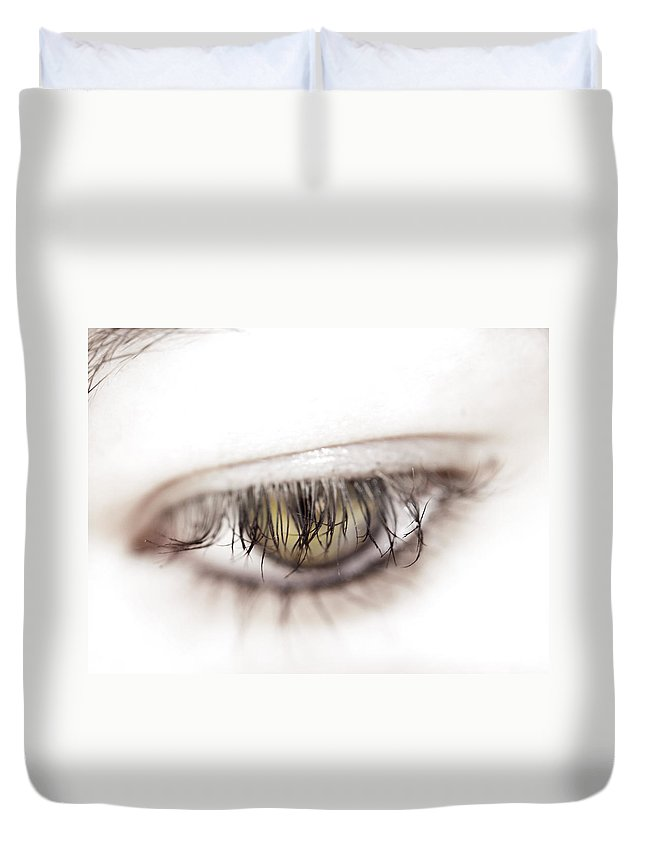 Eye Duvet Cover featuring the photograph Look Away by Kelly Jade King