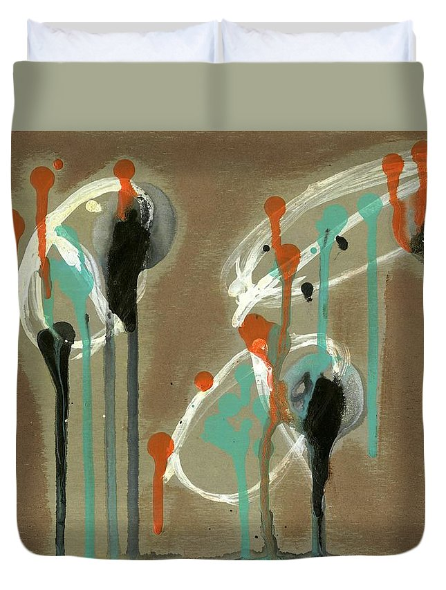 Look Duvet Cover featuring the painting Look by David Jacobi