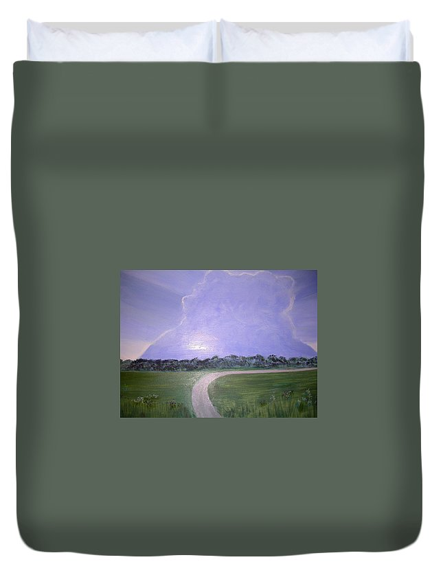 Sunrise Duvet Cover featuring the painting Look For The Silver Lining by Joanne Smith