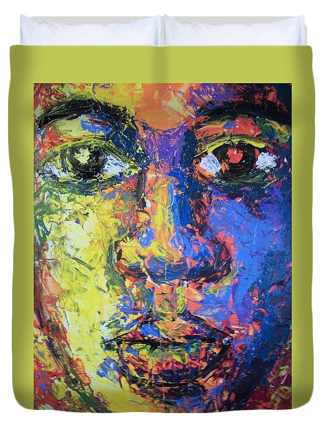 Duvet Cover featuring the painting Look Inward by Jan Gilmore