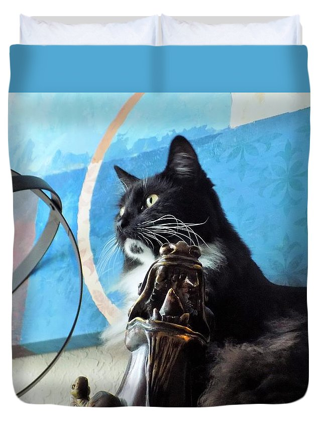 Black Duvet Cover featuring the photograph Look Out by Sarah Barba