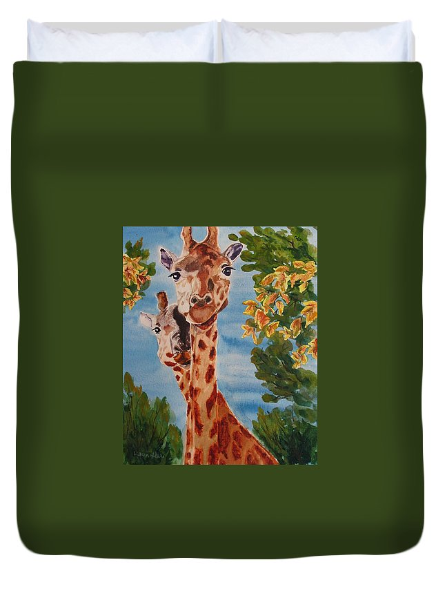 Giraffes Duvet Cover featuring the painting Lookin Back by Karen Ilari