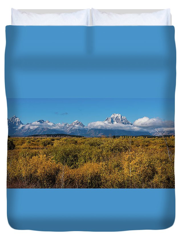 Willow Flats Duvet Cover featuring the photograph Looking Across Willow Flats To Mt Moran by Yeates Photography