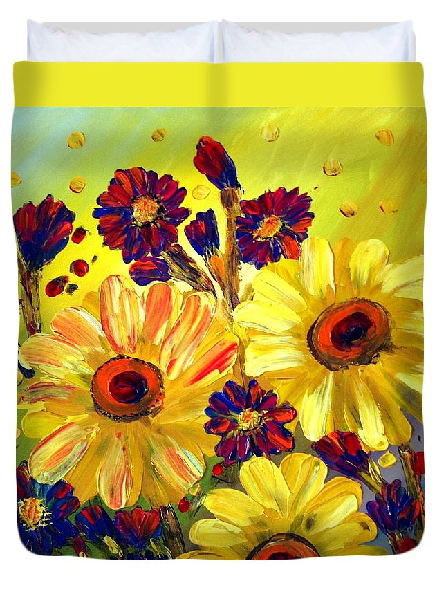 Flowers Duvet Cover featuring the painting Looking At Sun by Luiza Vizoli