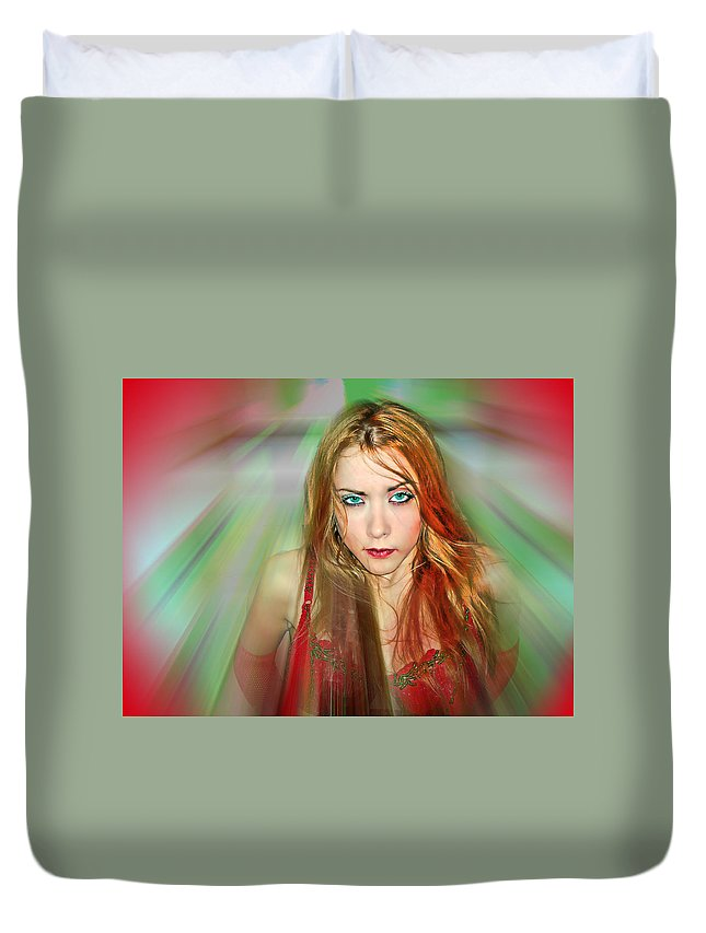 Women Duvet Cover featuring the photograph Looking At You by Francisco Colon