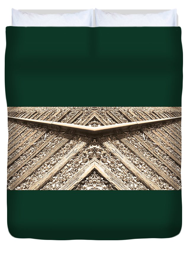 Traintracks Duvet Cover featuring the photograph Looking Both Ways Down The Train Tracks by James BO Insogna