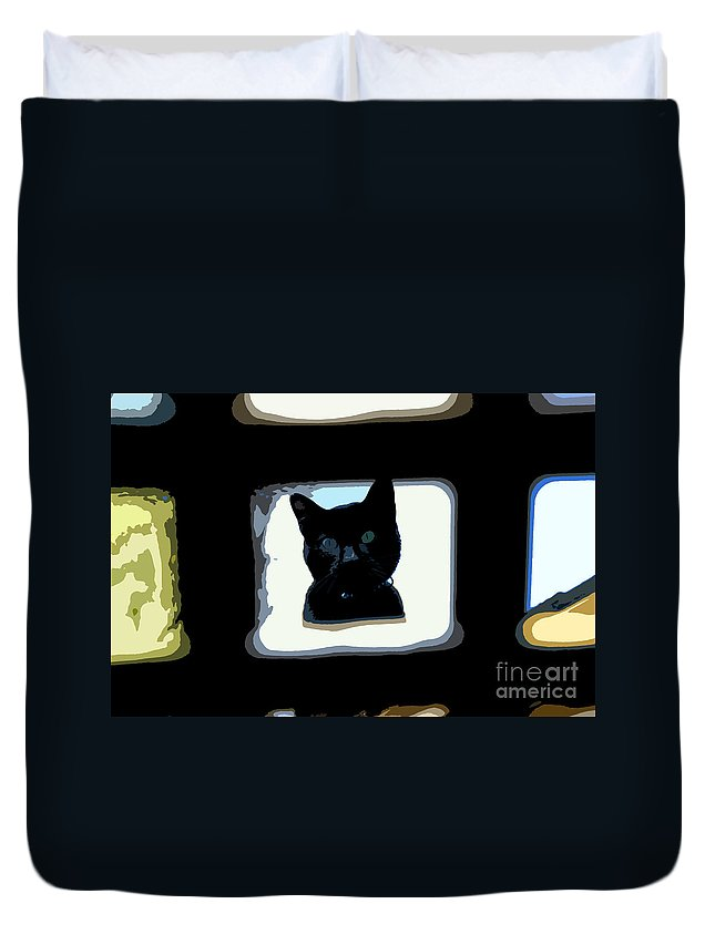 Black Cat Duvet Cover featuring the painting Looking by David Lee Thompson