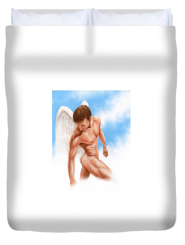 Male Angel Bruce Lennon Art Duvet Cover featuring the painting Looking Down by Bruce Lennon