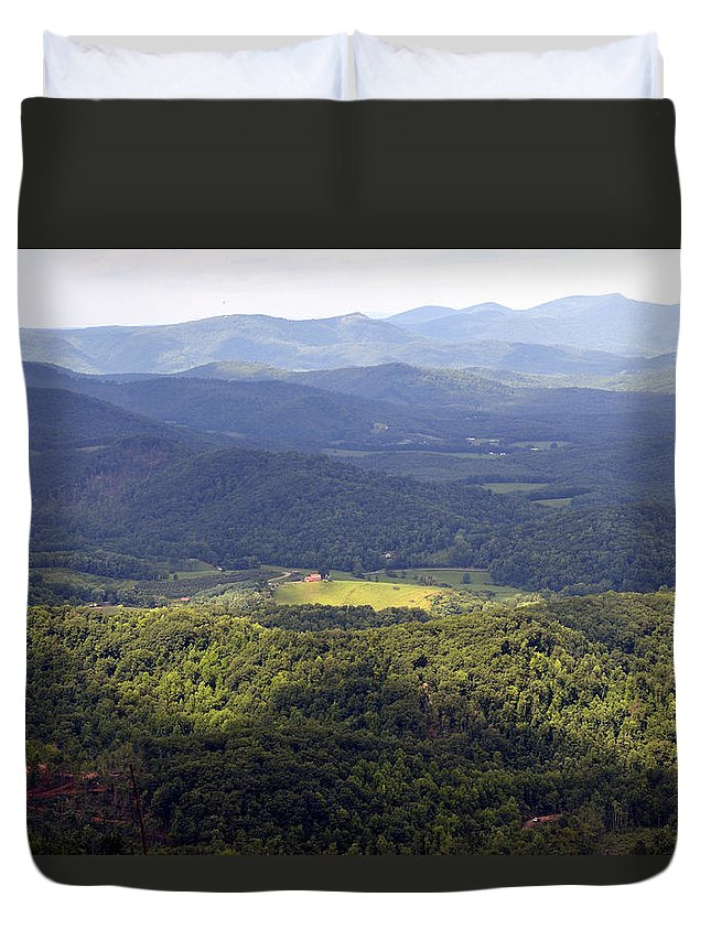 Mountains Duvet Cover featuring the photograph Looking Down by Glenda Ward