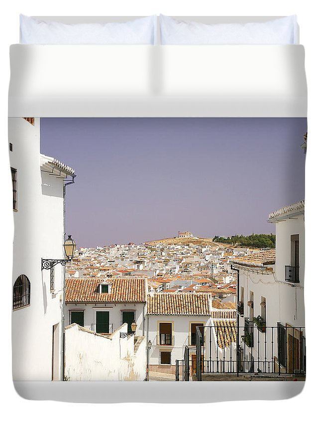 Antequera Duvet Cover featuring the photograph Looking Down Over Antequera From Near The Church Of Santa Maria La Mayor by Mal Bray
