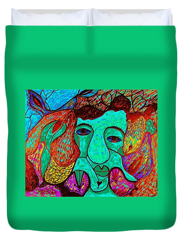 Man Duvet Cover featuring the painting Looking For Love by Natalie Holland