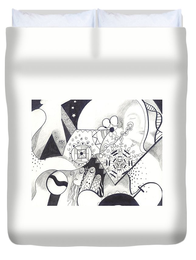 Allness Duvet Cover featuring the drawing Looking For The Universe In A Grain Of Sand by Helena Tiainen