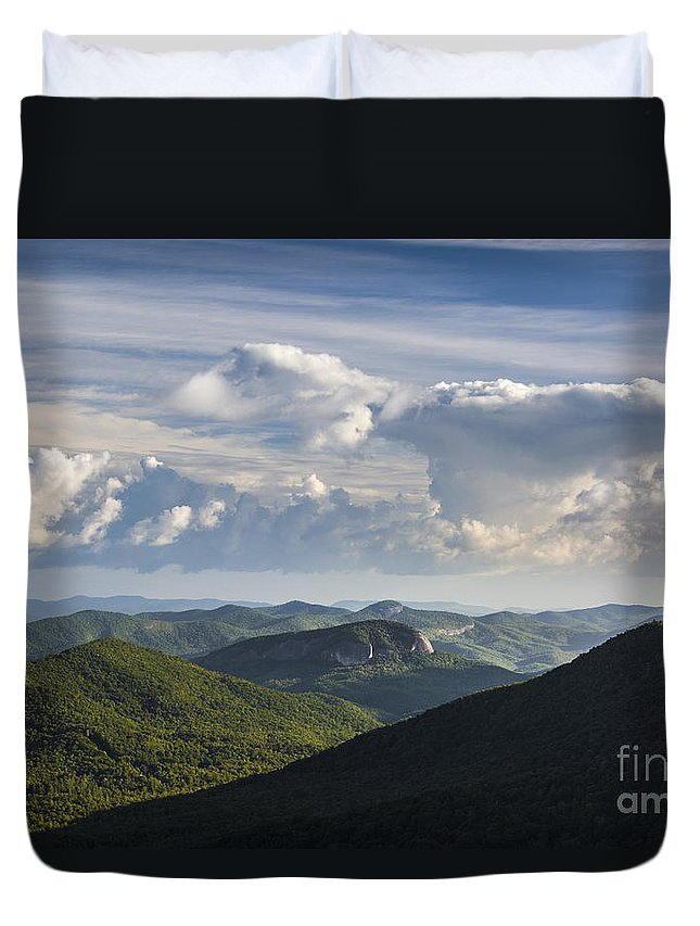 Appalachian Duvet Cover featuring the photograph Looking Glass Rock by John MacLean