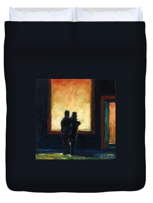 Town Duvet Cover featuring the painting Looking In Looking Out Mini by Richard T Pranke