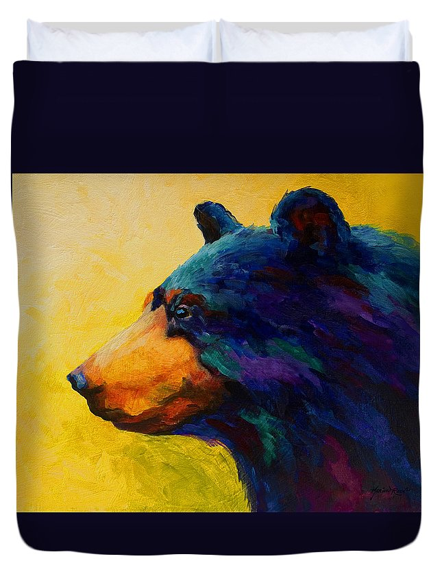 Bear Duvet Cover featuring the painting Looking On II - Black Bear by Marion Rose