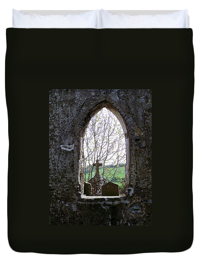 Ireland Duvet Cover featuring the photograph Looking Out Fuerty Church Roscommon Ireland by Teresa Mucha