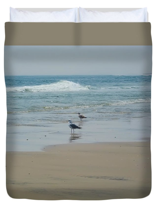 Beach Duvet Cover featuring the photograph Looking Out Into The Sea by Bill Cannon