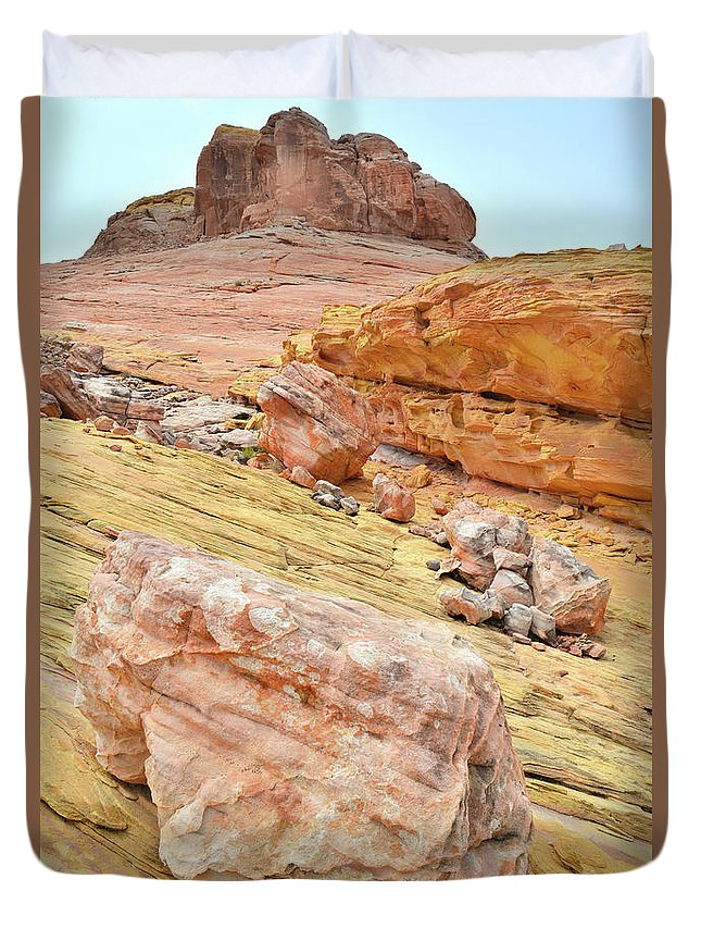 Valley Of Fire State Park Duvet Cover featuring the photograph Looking Skyward From Wash 3 In Valley Of Fire by Ray Mathis