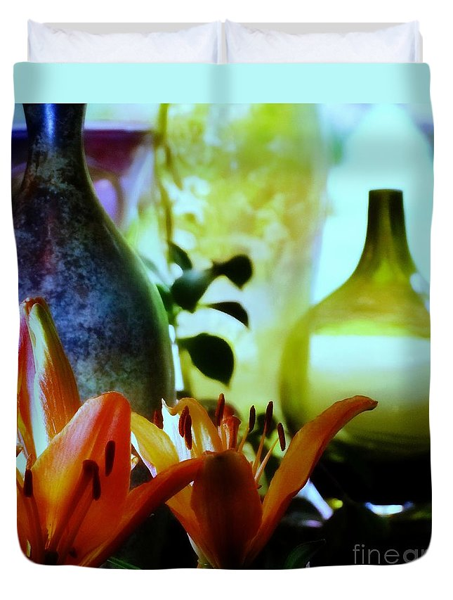 Vases Duvet Cover featuring the photograph Looking Towards The Window by Sandra Peery