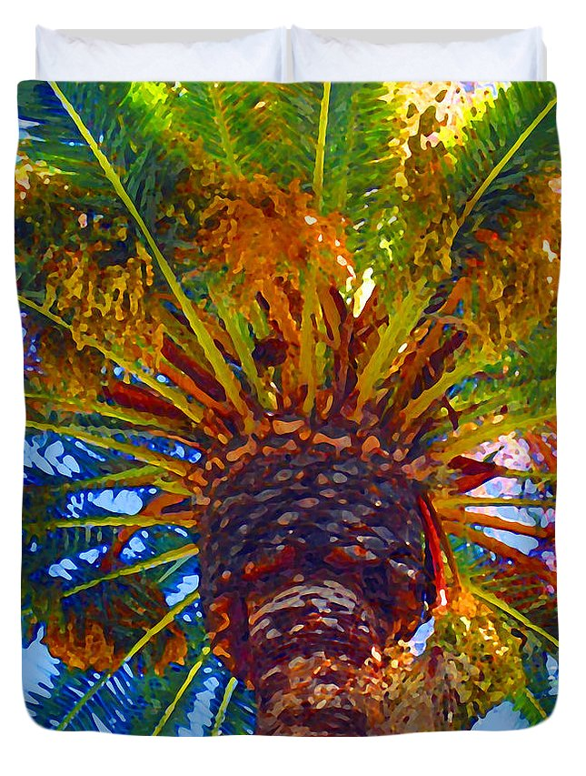 Garden Duvet Cover featuring the painting Looking Up At Palm Tree by Amy Vangsgard
