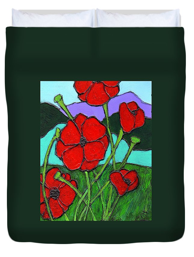 Poppies Duvet Cover featuring the painting Looking Up by Wayne Potrafka
