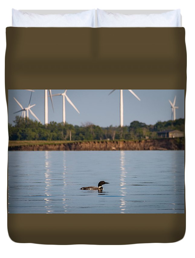 Loon Duvet Cover featuring the photograph Loon And Windmills by Sandy Roe