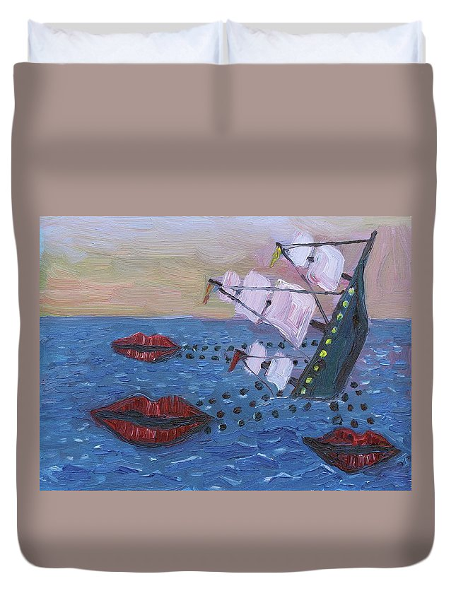Idioms Duvet Cover featuring the painting Loose Lips Sink Ships by John Kilduff