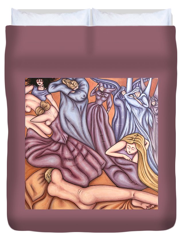 Mourning Duvet Cover featuring the painting Loosing Charles by Judy Henninger