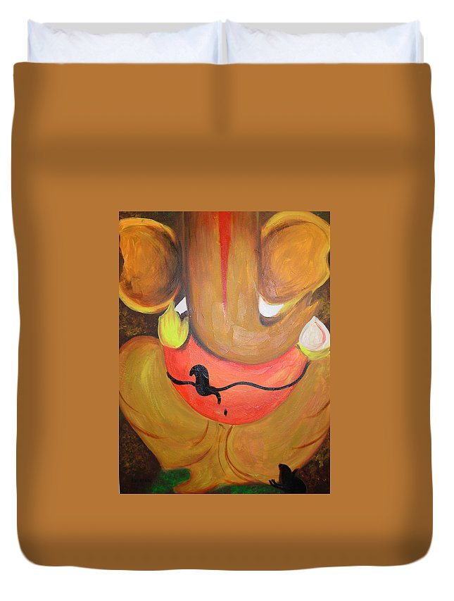 Acrylic Duvet Cover featuring the painting Lord Ganesh Ji by Riya Rathore