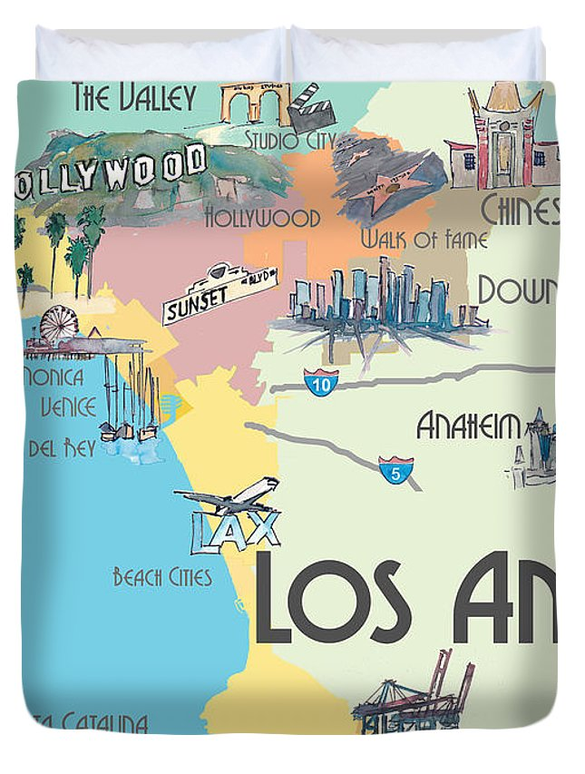 Los Angeles California Map Of Greater L A With Highlights Duvet