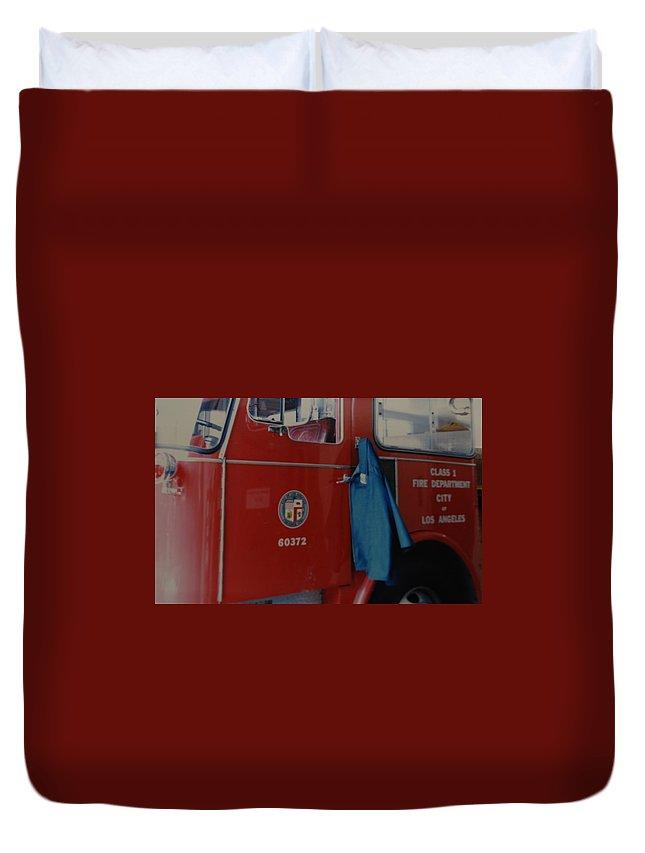 Los Angeles Fire Department Duvet Cover featuring the photograph Los Angeles Fire Department by Rob Hans
