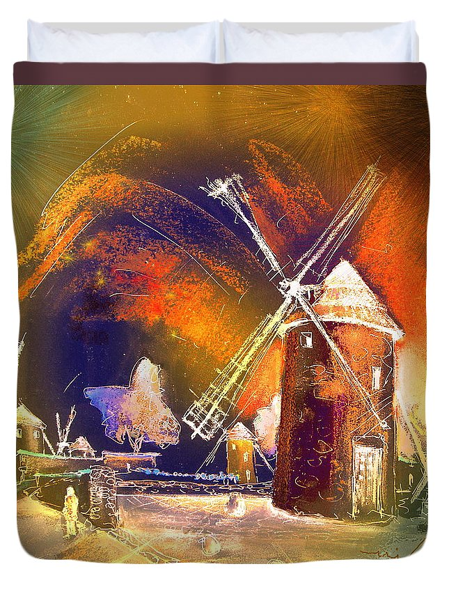 Duvet Cover featuring the painting Los Molinos Del Quijote 01 by Miki De Goodaboom