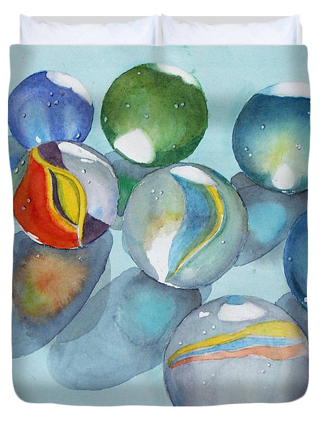 Still Life Duvet Cover featuring the painting Lose Your Marbles 2 by Marisa Gabetta