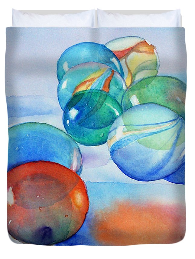 Still Life Duvet Cover featuring the painting Lose Your Marbles by Marisa Gabetta