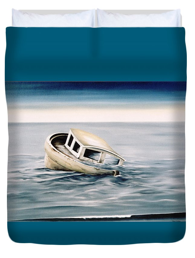 Seascape Duvet Cover featuring the painting Lost At Sea Contd by Mark Cawood