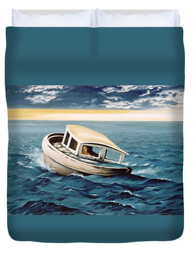 Seascape Duvet Cover featuring the painting Lost At Sea by Mark Cawood