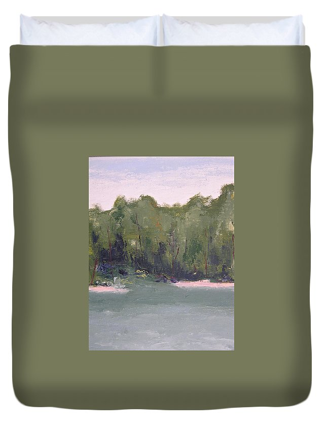 Beach Duvet Cover featuring the painting Lost Beach by Patricia Caldwell