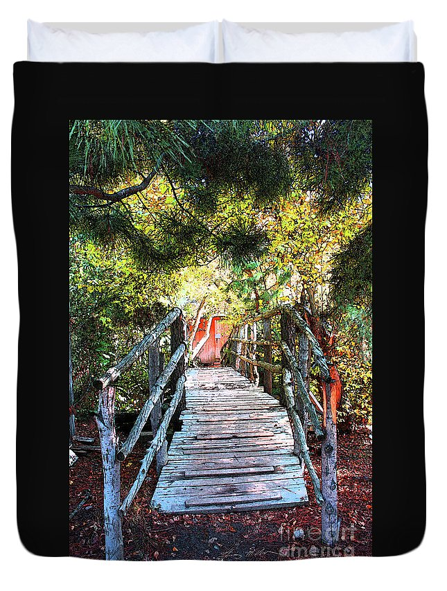 Oak Glen Duvet Cover featuring the digital art Lost Bridge by Tommy Anderson