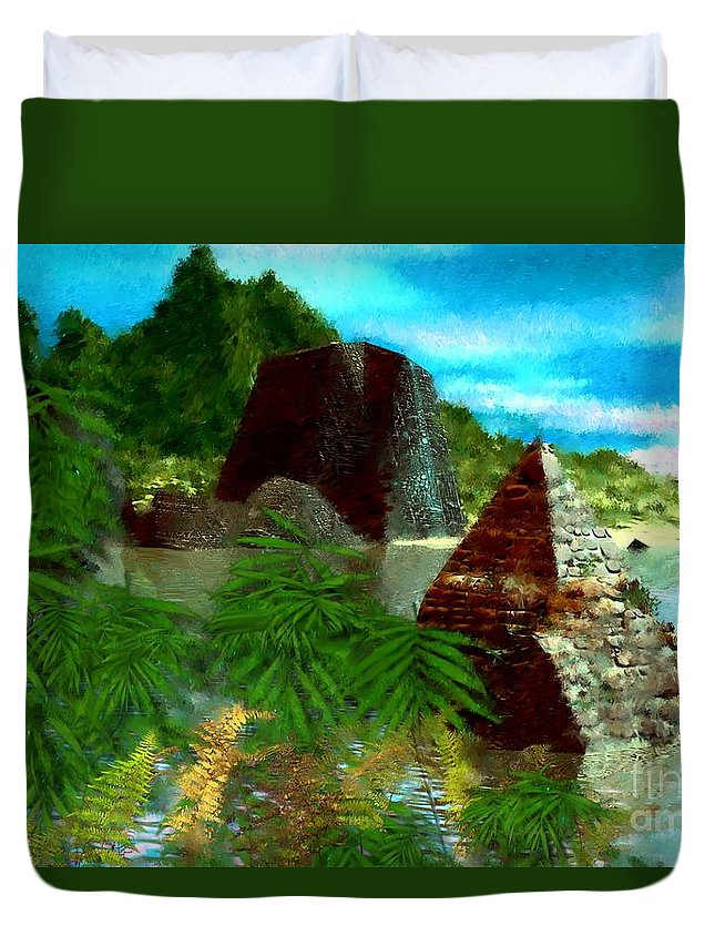 Digital Fantasy Painting Duvet Cover featuring the digital art Lost City by David Lane