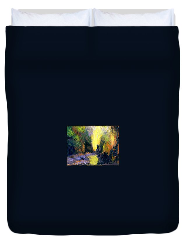 Landscape Duvet Cover featuring the painting Lost Creek by Gail Kirtz