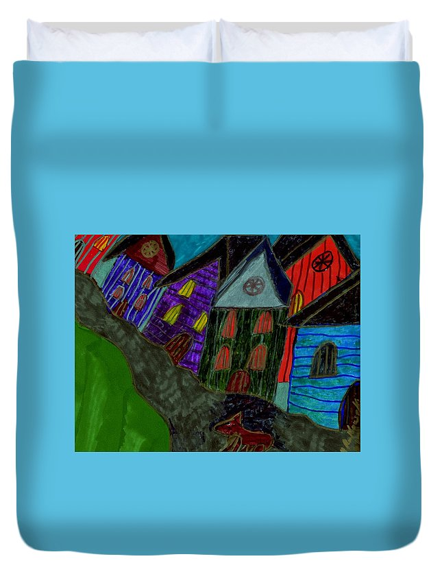 Dog Walking In The Street Through A Village Duvet Cover featuring the mixed media Lost Dog by Elinor Helen Rakowski